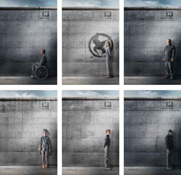 Posters from the movie The Hunger Games showing the drab grey in colour outfits.
